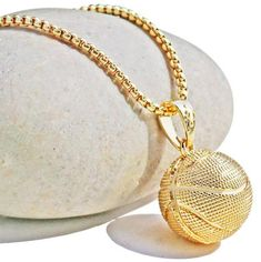 Basketball Pendant Necklace-Gold