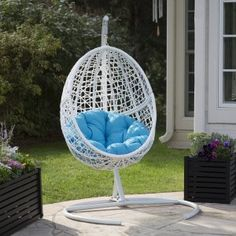 Island Bay Resin Wicker Blanca Hanging Egg Chair with Cushion Color Option and Stand - Porch Swings at Hayneedle $299