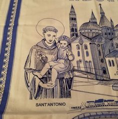 Italian Souvenir Tea Towel Padova Italy Blue White 100% Cotton NEW Vintage