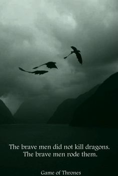 The brave men did not kill dragons. The brave men rode them.   Game of Thrones