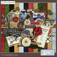 On The Right Track Digital Scrapbook Page Kit. $5.99 at Gotta Pixel. www.gottapixel.net/