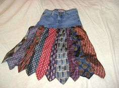 Get out those old ties and denim!  Flirty little skirt!