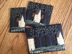 Primitive Hand Painted Black Switch Plate Covers with Saltbox!