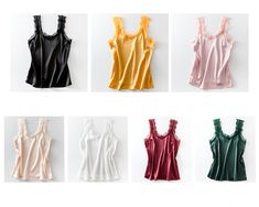 Tank Top Casual Silk Satin Vest Backless Lace-up Tank Tops Sleeveless Lace Up Tank Top, Cropped Tank Top, Sexy Blouse, Silk Satin, Casual Tops, Backless, Vest, Clothes For Women, Tank Tops