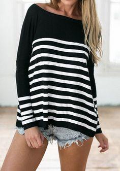 Black Striped Boat Neck Long Sleeve Fashion T-Shirt