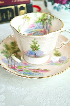 Aynsley Pink Birch Trees Teacup and Saucer Bone England -- SweetCuppa.etsy.com