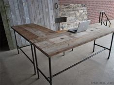 L Shaped Desk Decor Ideas.Furniture: Interesting Staples Computer Desk Design For . Furniture: Awesome Officemax Glass Desk For Modern Office . Tips: Incredible Wooden Gaming Desk For Your Having Fun . Home and Family Decor, Furniture, Interior, Rustic Desk, Reclaimed Wood Desk, Reclaimed Wood Furniture, Eclectic Desks, Building Furniture, Furniture Design