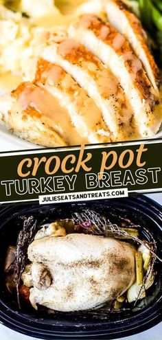 Making a turkey dinner does not have to be a big hassle! This crock pot version for turkey breast comes out tender and juicy with a homemade flavorful gravy. Not only does this quick and easy recipe free up oven space on holidays, but it is also perfect for meal prepping! Easy Main Dish Recipes, Easy Holiday Recipes, Fall Recipes, Turkey Recipes, Crockpot Recipes, Yummy Recipes, Thanksgiving Main Dishes, Thanksgiving Turkey, Cooking Turkey