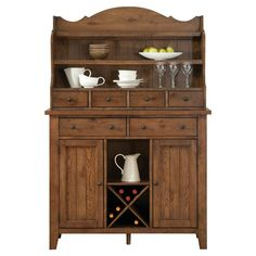 Showcasing a rustic oak finish and antiqued brass hardware, this classic server brings stylish storage to your dining room or parlor.