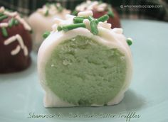 Must PIN! Shamrock no bake cake truffles - oh my!