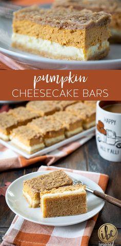 Delicious Pumpkin Cheesecake Bars #pumpkin #cheesecake #bars #pumpkinspice #fallbaking #fall #recipe #dessert Cookie Desserts, Just Desserts, Cookie Recipes, Dessert Recipes, Cake Cookies, Cookies Et Biscuits, Cupcakes, Pumpkin Recipes, Fall Recipes