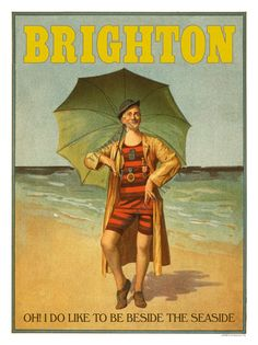 Shop funny vintage man sea bathing suit umbrella poster postcard created by EDDESIGNS. Personalize it with photos & text or purchase as is! Vintage Poster, Vintage Travel Posters, Vintage Postcards, Vintage Artwork, Seaside Art, British Seaside, British Travel, Vintage Humor, Vintage Ads