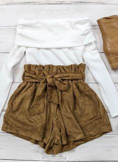 #summer #peppermayo #outfits | White Top + Suede Shorts