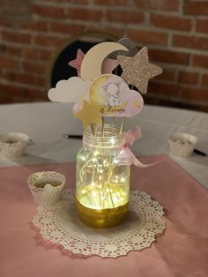 Moon and Stars baby shower centerpieces trucreations.me Baby Girl Shower Themes, Girl Baby Shower Decorations, Simple Baby Shower, Baby Shower Fun, Baby Shower Table Centerpieces, Star Centerpieces, Baptism Centerpieces, Centerpiece Ideas, Ideas Decoracion Cumpleaños