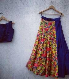 Silkina digital printed lehenga with blue color banglori silk stitched blouse set, crop top and party wear skirt by Swaradesigner on Etsy Lehenga Choli Designs, Blue Lehenga, Silk Lehenga, Sari, Anarkali, Garba Chaniya Choli, Bridal Lehenga Choli, Ghaghra Choli, Lehenga Online