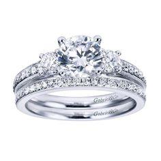 1.45cttw 3-Stone Plus Diamond Engagement Ring with Bead Set Side Diamonds