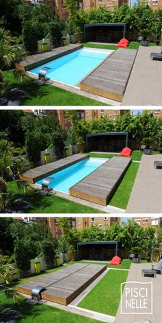 A rolling pool terrace Rolling Deck designed by Piscinelle. It secures and aesthetically protects the pelvis in seconds and A rolling pool terrace Rolling Deck designed by Piscinelle. It secures and aesthetically protects the pelvis in seconds and Backyard Pool Landscaping, Backyard Pool Designs, Small Backyard Pools, Diy Pool, Swimming Pools Backyard, Swimming Pool Designs, Pool Decks, Backyard Ideas, Landscaping Ideas