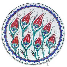 Iznik Design Ceramic Plate - Tulip