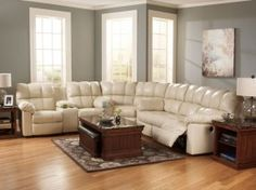 "PLANET - 3pcs MODERN COMFORT RECLINING SECTIONAL w/ GENUINE CREAM LEATHER STORE RETAIL: 3500 OUR PRICE: 2546.75 Back to Top Add to Favorite Stores Email us a Question Back to Top Add to Favorite Stores Email us a Question Dual Recliners Sofa - 87""W x 41""D"