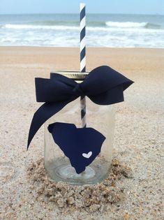 South Carolina Silhouette Personalized Mason Jar Cup w/ Straw