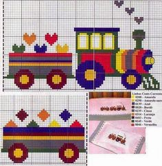 Vehicle train cross stitch.