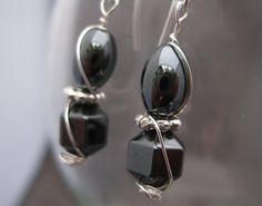 Wire wrapped Hematite Earrings by Banba on Etsy, $15.00