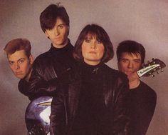 Sandie Shaw with Andy Rourke, Johnny Marr and Mike Joyce of The Smiths ― photo by Peter Ashworth (1984).