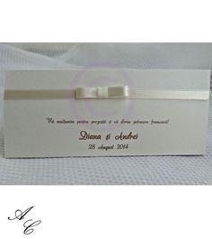 Plic de bani din carton sidefat, cu fundita din satin ivoire, personalizat cu numele mirilor, data evenimentului si un mesaj de multumire. Satin, Satin Tulle, Silk Satin