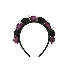 Black Purple Rose Silver Spike Headband Hot Topic ($8.17) ❤ liked on Polyvore featuring accessories, hair accessories, head wrap headband, headband hair accessories, hair bands accessories, rose headbands and hair band headband