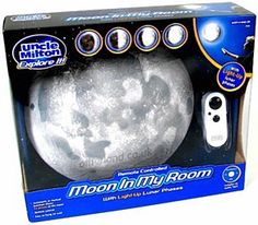 """""""Moon In My Room"""" for $39.95. What's different about the moon tonight? It's inside your room! Authentically detailed, """"Moon In My Room"""" is a light-up moon with 12 lunar phases. It hangs on the wall and shines moonlight just like the real moon. Twelve different phase settings let you match what the real moon looks like outside tonight! Listen to the included audio CD to learn exciting facts about the moon and its unique relationship with planet Earth."""