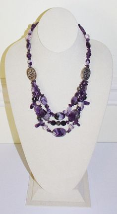 Purple Amethyst Gemstone Necklace Multi-strand by SCLadyDiJewelry
