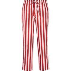 Sleepy Jones Marina striped cotton-poplin pajama pants ($190) ❤ liked on Polyvore featuring intimates, sleepwear, pajamas, red, striped pjs, pj pants, red pj pants, red striped pajamas and striped pyjamas