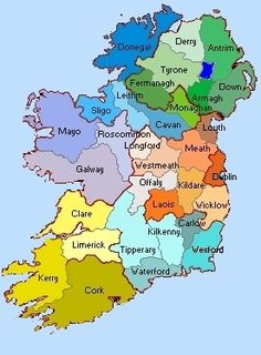 map of Counties in Ireland | This county map of Ireland shows all 32 ...