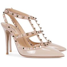 Womens Pointed-Toe Pumps Valentino Rockstud 100 Shell Patent Pumps ($960) ❤ liked on Polyvore
