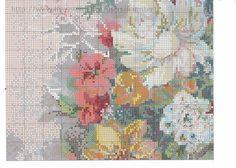 Gallery.ru / Фото #1 - цветы 6 - koreianka Needlepoint Stitches, Needlework, Cross Stitch Flowers, Cross Stitch Patterns, Ribbon Embroidery, Vintage World Maps, Projects To Try, Old Things, Diagram
