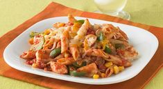 Chunks of chicken simmered in salsa with corn and green pepper are blended with cooked penne pasta then topped with shredded Mexican-style cheese. Tasty Dishes, Food Dishes, Main Dishes, Chef Recipes, Pasta Recipes, Skillet Recipes, Chicken Recipes, Salsa, Recipe Directions