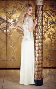 Short Sleeves Yarn Jewel Floor-length Chiffon Formal Dresses d130604270