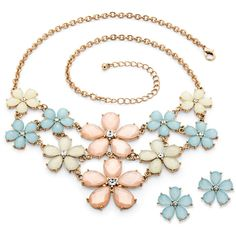 Palmbeach Jewelry Checkerboard-Cut Pastel Lucite And Crystal Flower... ($41) ❤ liked on Polyvore featuring jewelry, necklaces, multi, crystal jewelry, flower jewellery, crystal jewellery, goldtone jewelry and button jewelry