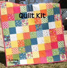Best Day Ever Patchwork Baby Quilt Kit, Simple Quick Easy - Sunnyside Designs - 1