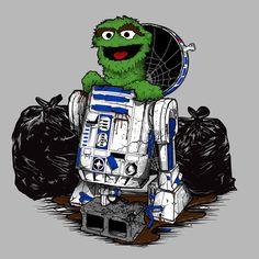 Oscar the Grouch and [Star Wars, Sesame Street, The Muppets] Oscar The Grouch, Lego, Star Wars Droids, Star Wars Images, Star Wars Humor, Love Stars, Star Wars Art, Minion, Creepy