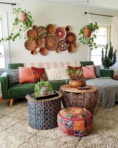 Promising extended bohemian home decor gypsy More Help - Home Design Home Decor Baskets, Baskets On Wall, Home Decor Kitchen, Bohemian House, Bohemian Decor, Bohemian Living, Hippie Bohemian, Living Room Decor, Bedroom Decor