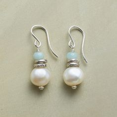 "SERENITY PEARL EARRINGS -- Our handmade Serenity Pearl Earrings display soothe-the-soul stacks of amazonite, sterling silver beads and uniquely irregular cultured pearls. Sundance exclusive handcrafted in USA with sterling silver French wires. 1-1/4""L."