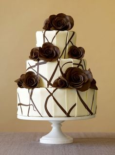 White Tiered Chocolate Wedding Cake with Brown Flowers