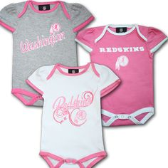 Redskins Pink 3 Pack Baby Body Suits f8f8e8666