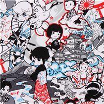 weiß-grauer Japanischer Krieger Anime Stoff Manga Stoff