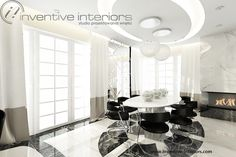 Projekt jadalni Inventive Interiors - luksusowa jadalnia z owalnym stołem - piękny sufit podwieszany - pomysł na układ płytek