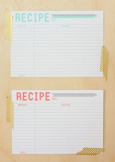 lovesome: printable: recipe cards