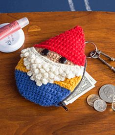 This little guy will happily look after your little things: keys, license, lip balm, cash, etc. Adorable and quick to make, this gnome is a great stash buster for all those leftover bits of worsted-weight yarn. Think about it: What is cuter … some scraps of yarn just lying around or a pint-sized gnome with a big ol' beard? I think you know the answer.