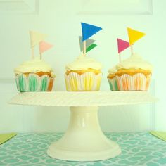 Felt Cupcake Flags Set of 6 Any Colour Pink, Red, Purple, White, Yellow, Grey, Brown, Blue, Green. $6.00, via Etsy.