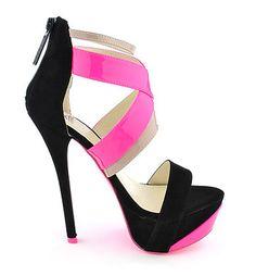 Neon Pink & Black Heels ❦~HeadOverHeels~❦